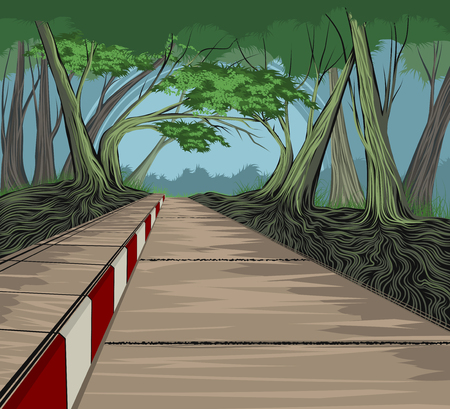 Footpath and park vector hand drawing nature landscape background