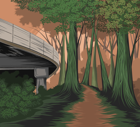 Elevated road and forest side vector nature landscape background