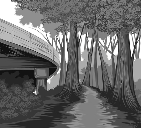 Silhouette elevated road and forest side vector nature landscape background