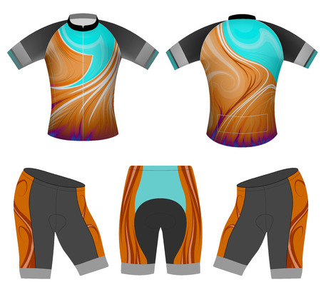Vibrant colors sports t-shirt vector cycling vest design on a white background
