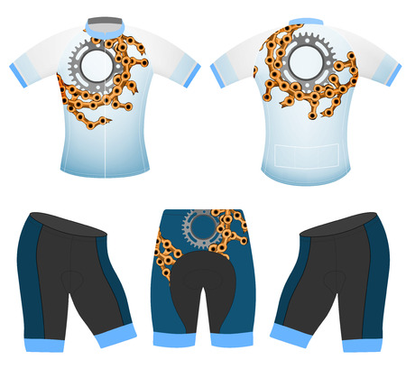 Bike chain on sports t-shirt vector cycling vest on a white background Illustration