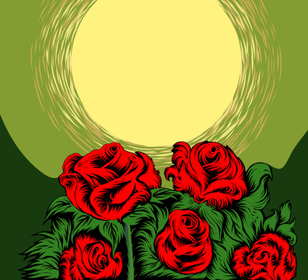 red rose: Red rose flower and full moon scene vector nature background