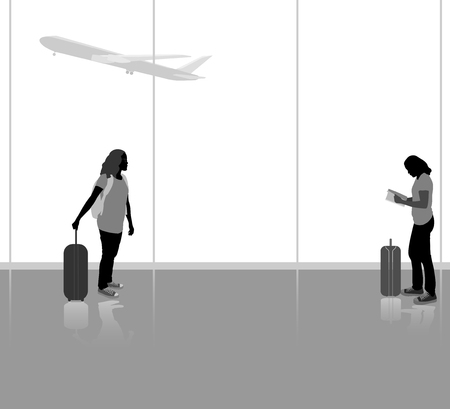 people traveling: People traveling with airplane  silhouette people in the airport background Illustration