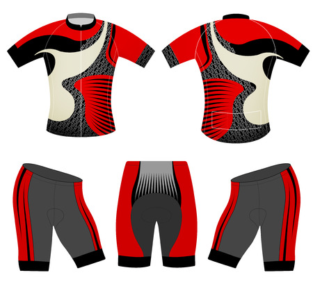 Cycling vest red style vector fashion design on a white background