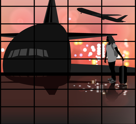 traveler: The Airport scene  silhouette young woman traveler background