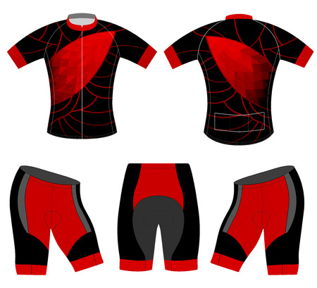 Red low poly on sports t-shirt vector cycling vest design on a white background