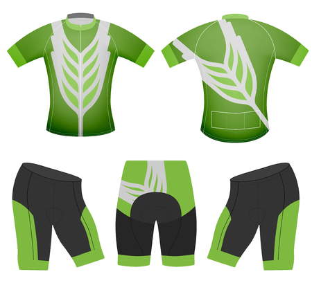 Green leaf style on sports t-shirt vector cycling vest on a white background