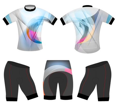 Escena de colores en forma de diseño del chaleco deportes camiseta vector de bicicleta sobre un fondo blanco Foto de archivo - 69145611