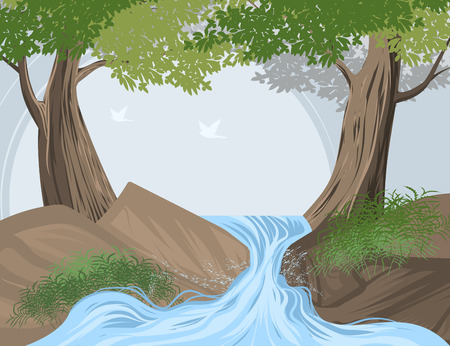creek: Beautiful forest and creek scene vector nature landscape background