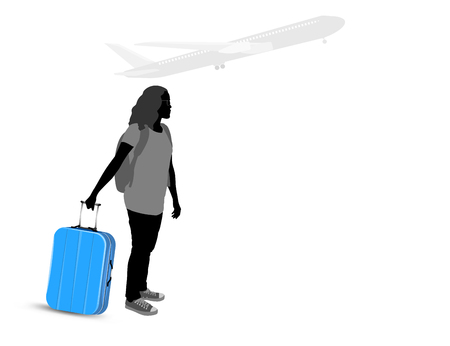 people traveling: Young woman with blue luggage go to the Airport vector silhouette people traveling background