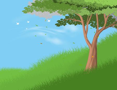 hillside: Tree on hill vector nature landscape bakcground
