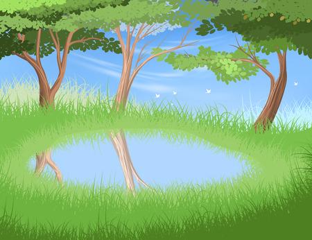 Lake in forest vector nature landscape background Illustration