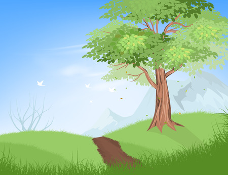 Tree on hill vector nature landscape background