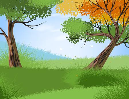 Beautiful forest and seasonal scene vector nature landscape background Illusztráció