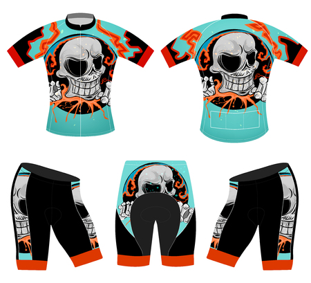Skull rider on sports t-shirt vector cycling vest design on a white background.
