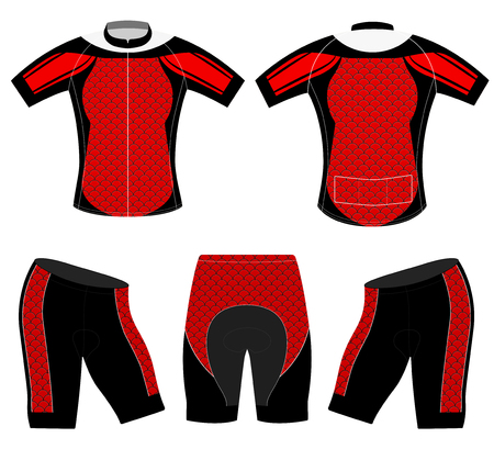 Red striped sports t-shirt vector cycling vest design on a white background