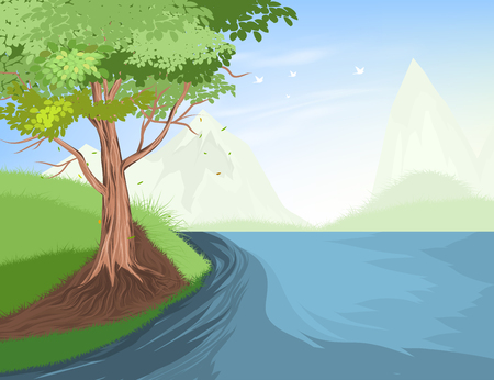 Beautiful tree and lake scene vector nature landscape background