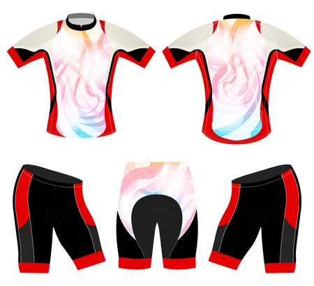 Colors style on sports t-shirt vector cycling vest design on a white background