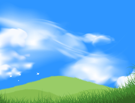 Beautiful green grass field with blue sky scene vector nature landscape background.