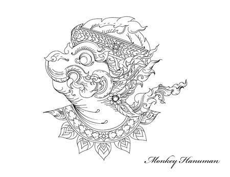 Monkey Hanuman, Thai art pattern.