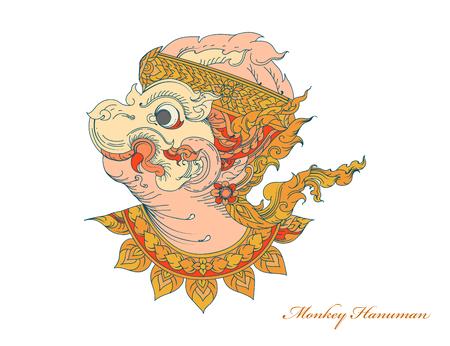 Colors monkey hanuman,Thai art pattern vector on a white background Illustration