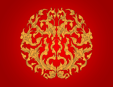 Gold flora art pattern,Thai culture vector on a red background Illustration