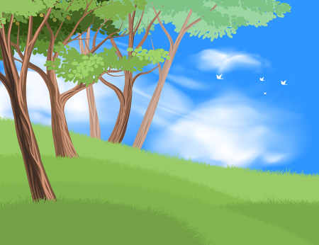 Beautiful trees on hill vector nature and landscape over blue sky background