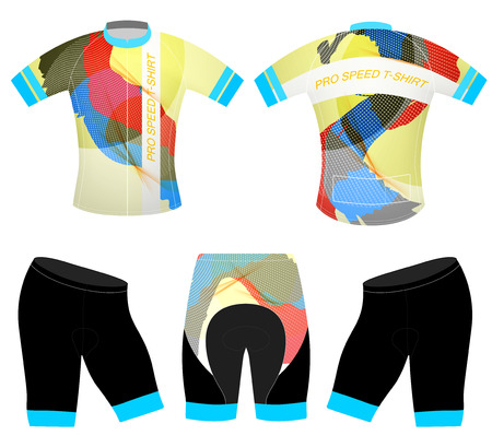 Graphics colors on sports t-shirt vector cycling vest design on a white background