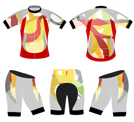 Colors style sports t-shirt vector cycling vest design on a white background