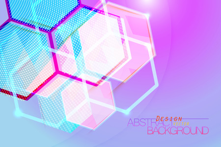 Hexagon abstract translucent colors vector wallpaper background Çizim