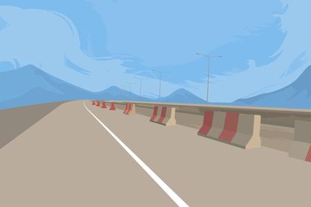 Weg en in aanbouw vectorvervoerachtergrond