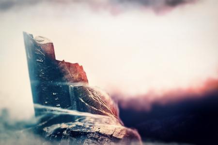mountaintop: Hight mountain scene illustration nature background