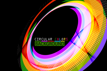Circular colors geometric shape scene vector abstract wallpaper on a black background
