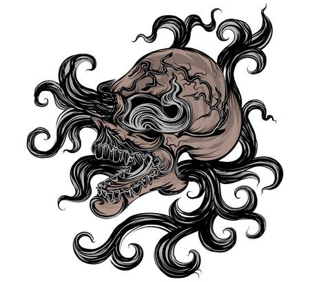 Skull art vector hand drawing on a white background Illustration