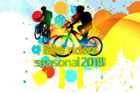 Two  persons riding a bicycle with Bike riders seasonal 2018 text over abstract colors background Illustration
