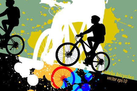 Silhouette woman ride bicycle scene vector grunge colors ink splatter abstract background Illustration