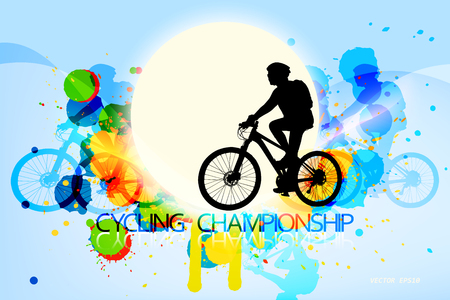 Cycling championship scene vector colors ink splatter abstract background Illustration