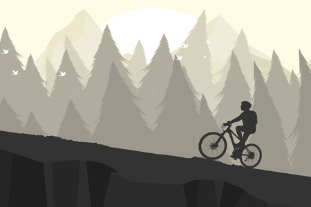 Silhouette mountain bike vector outdoor sports background Illustration