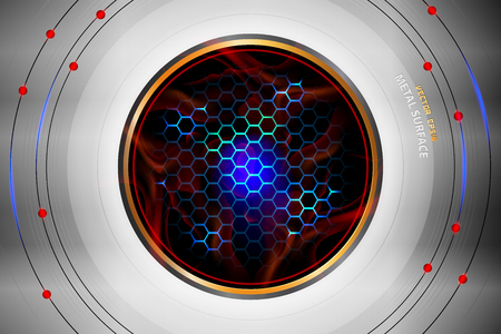 Metal surface circle shape scene vector technology background.  イラスト・ベクター素材