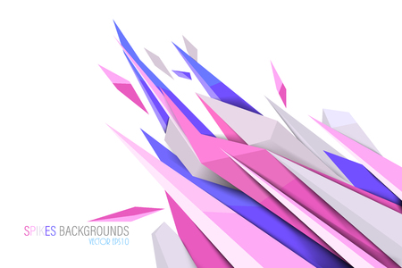 Pink colors spikes shape scene vector abstract wallpaper on a white background