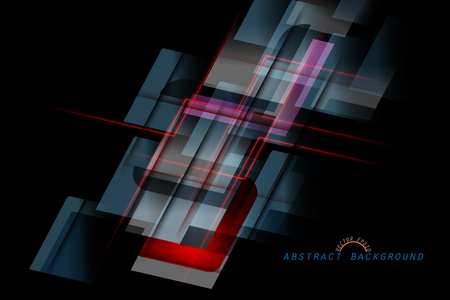 Translucent color abstract shape scene vector wallpaper on a black background Çizim