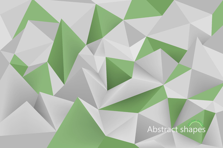 Abstract green color low poly shapes scene vector wallpaper background