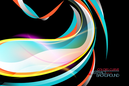 Abstract glossy colors curve scene vector wallpaper on a black backgrounds Illustration
