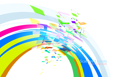 Abstract scattered colors curve scene vector wallpaper on a white backgrounds