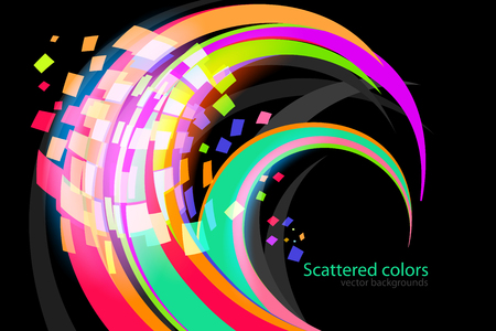 Abstract scattered colors curve scene vector wallpaper on a black backgrounds