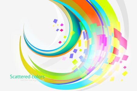 Abstract scattered colors curvy scene vector wallpaper on a gray backgrounds