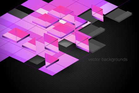 Square shape motion graphics vector wallpaper on a black backgrounds Çizim