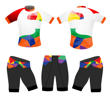 Cycling vest sports low poly colors vector design on a white backgrounds