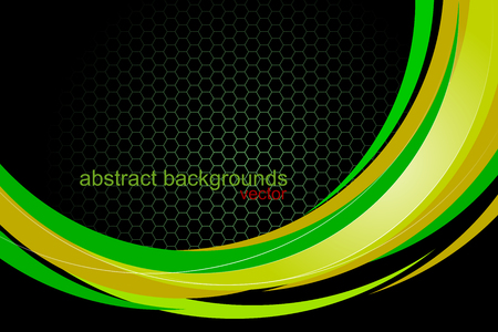 Abstract glossy green colors curved concept vector wallpaper on a black background Illustration