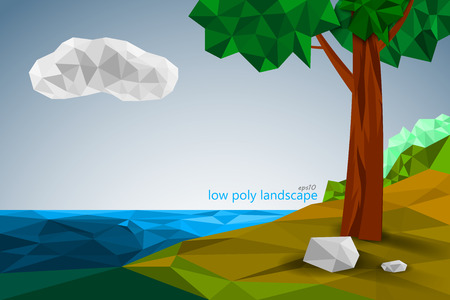 Low poly landscape scene vector abstract wallpaper background